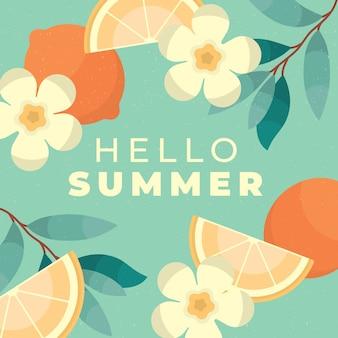 Design plat bonjour fond d'été avec des fleurs