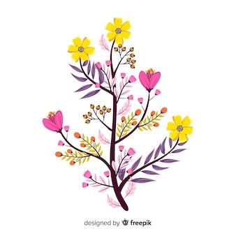 Design plat de branche florale colorée