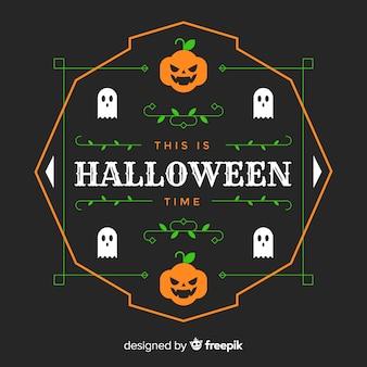 Design plat de cadre citrouille halloween