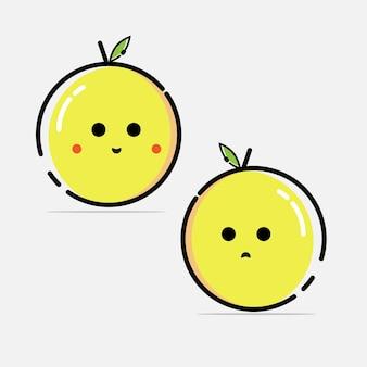 Design plat de caractère de fruit de citron