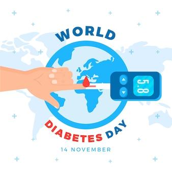 Design plat de célébration de la journée mondiale du diabète