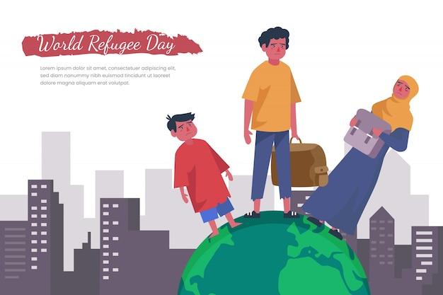 Design plat de la célébration de la journée mondiale des réfugiés
