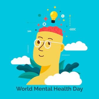 Design plat de célébration de la journée de la santé mentale