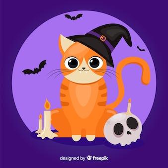 Design plat de chat orange halloween