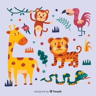 Design plat de collection d'animaux tropicaux