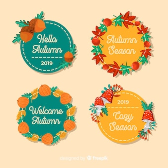 Design plat de collection de badge automne