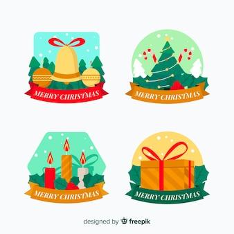 Design plat de la collection de badges de noël