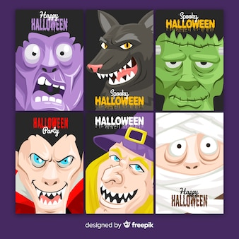 Design plat de la collection de cartes d'halloween