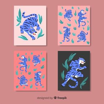 Design plat de collection de cartes tigre sauvage