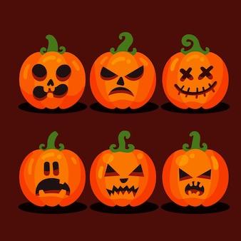 Design plat de collection de citrouille d'halloween