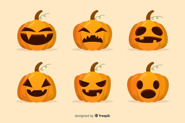 Design plat de la collection de citrouilles d'halloween