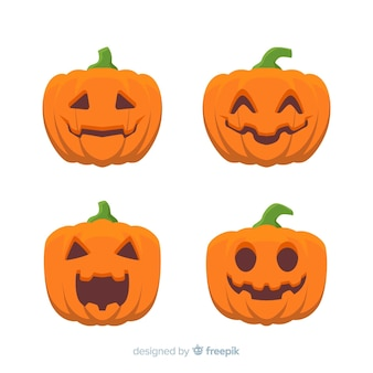Design plat de la collection de citrouilles d'halloween