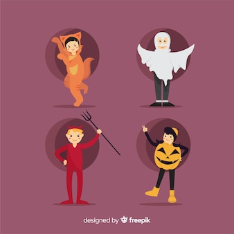 Design plat de la collection de costumes d'halloween kid