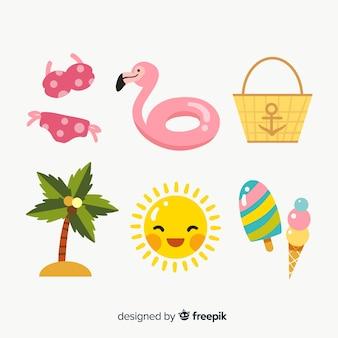 Design plat de collection d'éléments d'été