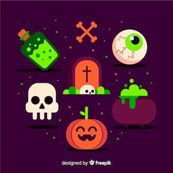 Design plat de la collection d'éléments d'halloween