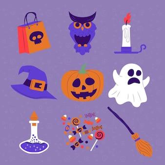 Design plat de collection d'éléments halloween