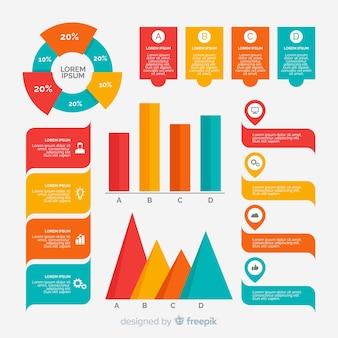 Design plat de la collection d'éléments infographiques