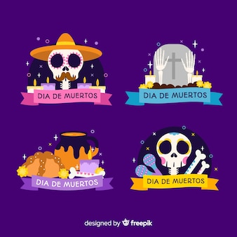 Design plat de la collection d'étiquettes dia de muertos