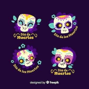 Design plat de la collection d'étiquettes dia de muertos