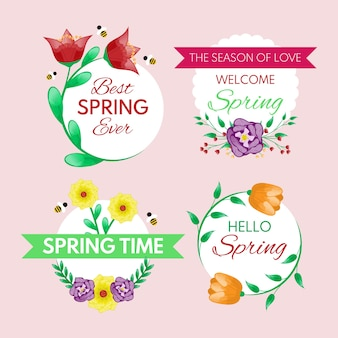 Design plat collection d'étiquettes de printemps design
