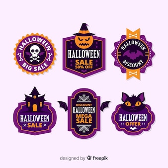 Design plat de la collection d'étiquettes de vente halloween