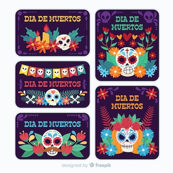 Design plat de la collection d'insignes dia de muertos