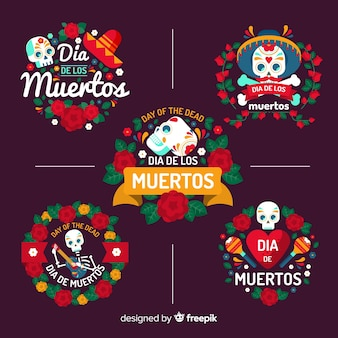 Design plat de la collection d'insignes dia de muertos