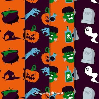 Design plat de collection de modèles halloween
