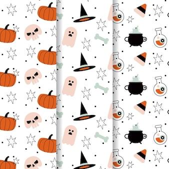 Design plat de collection de motifs halloween