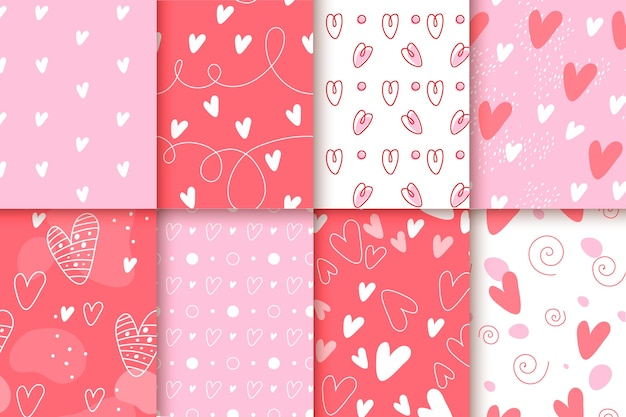 Design plat avec collection de motifs de la saint-valentin