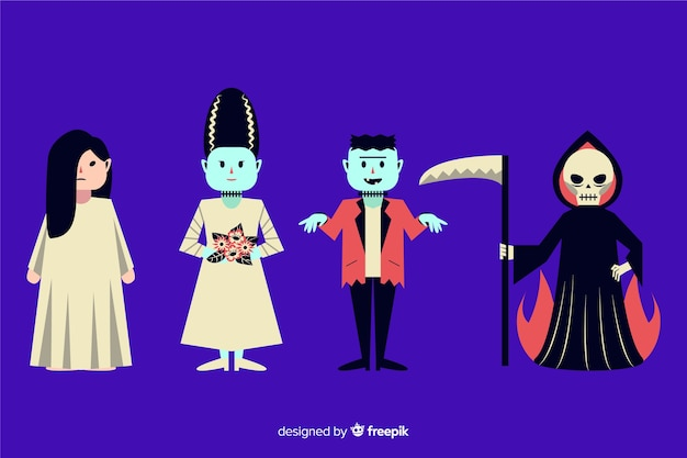 Design plat de la collection de personnages halloween