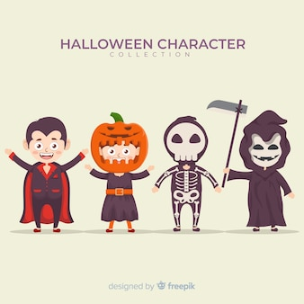 Design plat de la collection de personnages d'halloween