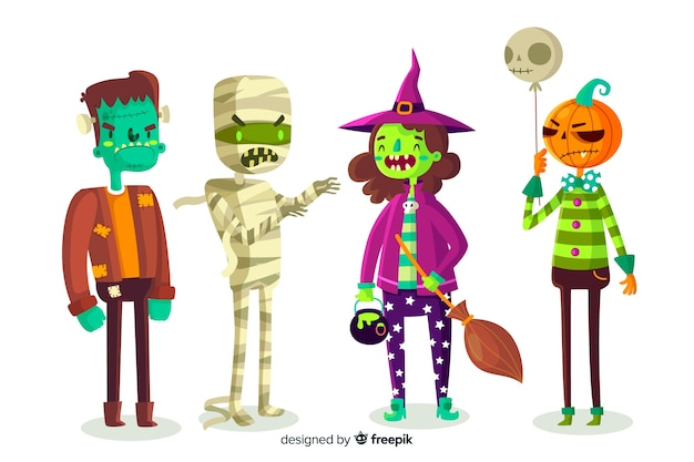 Design plat de la collection de personnages d'halloween