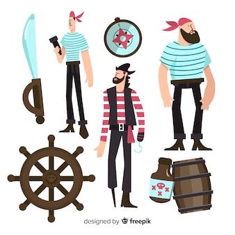 Design plat de la collection de personnages de la vie marine