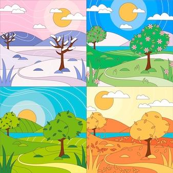Design plat de la collection des saisons dessinées à la main
