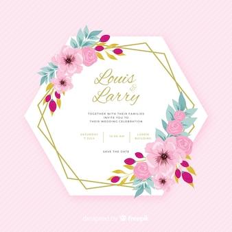 Design plat coloré d'invitation de mariage cadre floral