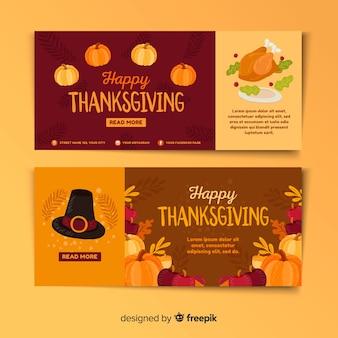 Design plat coloré pour les bannières de thanksgiving
