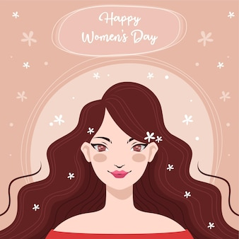 Design plat avec concept dessiné à la main de la journée de la femme