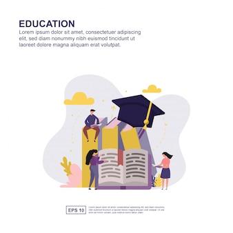 Design plat concept de l'éducation pour la présentation.