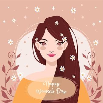 Design plat avec le concept de la journée de la femme