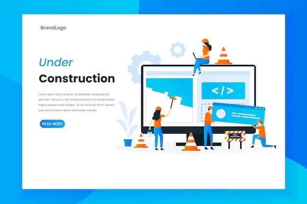 Design plat en construction illustration de page de destination