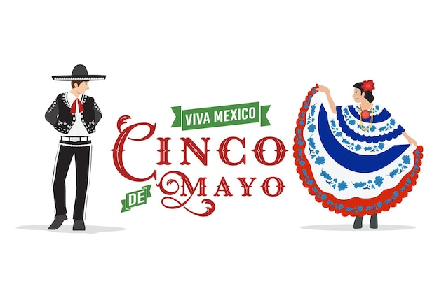 Design plat, couple mexicain dansant, vecteur