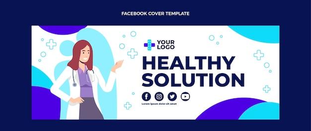 Design plat de la couverture facebook médicale