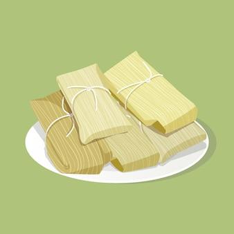 Design plat délicieux tamales