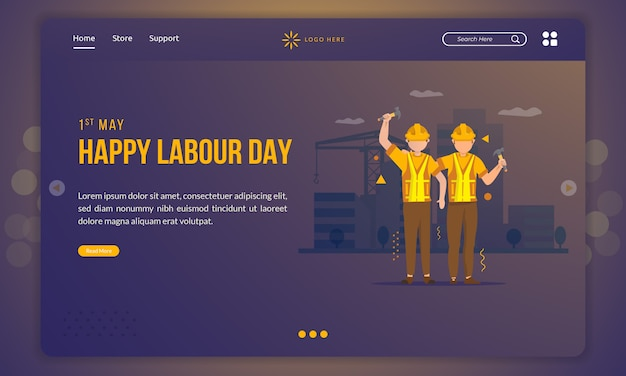Design plat de deux travailleurs de la construction tenant un marteau pour le concept de la fête du travail