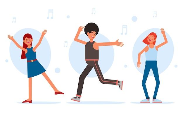 Design plat différentes personnes dansant