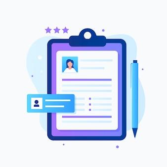 Design plat du concept de curriculum vitae pour les pages de destination de sites web