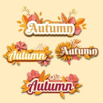 Design plat du jeu d'autocollants d'automne