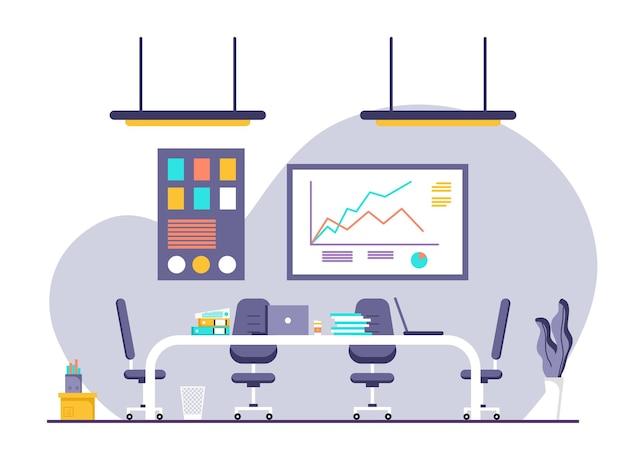 Design plat du lieu de travail et du poste de travail, concept de bureau de travail ou d'intérieur de bureau avec mobilier. bureau moderne avec ordinateur, table et équipement. travail à domicile illustration.