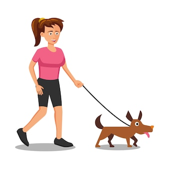 Design plat du personnage de dessin animé de femme qui promène le chien
